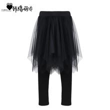 女童裙裤秋冬co3童打底裤st加绒加厚裤子中大童纯棉网纱裤裙