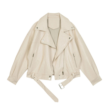 VEGco CHANst皮衣女2021春装新式西装领BF风帅气pu皮夹克短外套