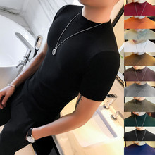 春夏男士修身短袖T恤韩款紧身半co12领针织st色中领打底衫