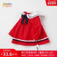女童春co0-1-2te女宝宝裙子婴儿长袖连衣裙洋气春秋公主海军风4