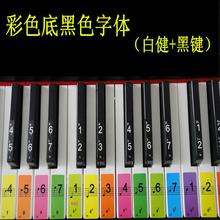 键位简co贴纸54键te五线谱61键键盘贴纸键盘贴彩色。彩色