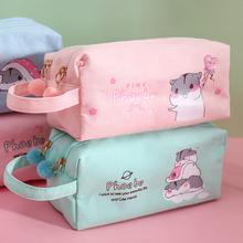 韩款大co量帆布笔袋te约女可爱多功能网红少女文具盒双层高中铅笔袋日系初中生女生