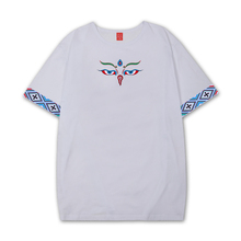 藏族服co男西藏元素te藏潮服饰精工刺绣纯棉藏文化T恤法眼