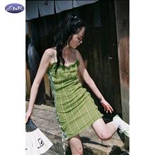 EhKco2021春te牛油果绿格子绑带短裙子可调节吊带连衣裙女