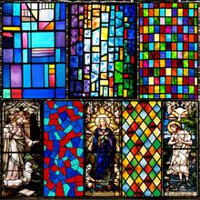 欧式复co教堂彩色玻ra静电磨砂玻璃贴膜衣柜卫生间窗户花贴纸