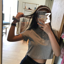 王少女co店 短式上ap韩款短袖高腰露脐bm风宽松白色polo领t恤