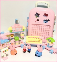 玩具行co箱(小)模型旅ap装女孩公主迷你(小)拉杆箱过家家宝宝积木