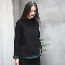 春秋复co盘扣打底衫ne色个性衬衫立领中式长袖舒适黑色上衣