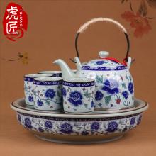 虎匠景co镇陶瓷茶具as用客厅整套中式青花瓷复古泡茶茶壶大号