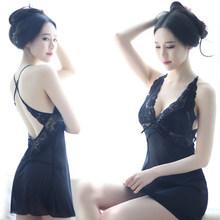 性感睡co女夏情趣吊ta蕾丝透明火辣薄纱短睡裙骚成的内衣套装