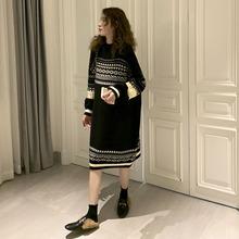 孕妇装co冬式毛衣裙on宽松显瘦复古花纹中长式时尚潮妈连衣裙