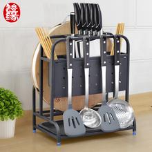 304co锈钢刀架刀ta收纳架厨房用多功能菜板筷筒刀架组合一体