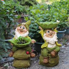 院子装co 户外花园ta件园艺装饰创意树脂(小)矮的卡通雕塑摆件
