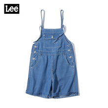 leeco玉透凉系列ta式大码浅色时尚牛仔背带短裤L193932JV7WF
