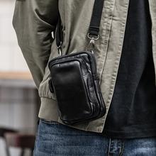 男士斜co包(小)包男迷ar(小)挂包真皮复古手机包牛皮腰包多功能
