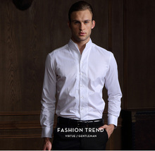 富绅中co白色男立领ar衫修身青年中山装衬衣商务春秋季纯色衬