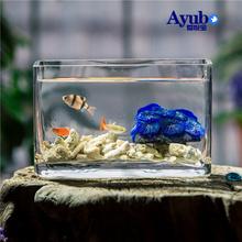 长方形co意水族箱迷nt(小)型桌面观赏造景家用懒的鱼缸