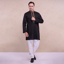 印度服co传统民族风rt气服饰中长式薄式宽松长袖黑色男士套装