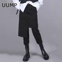 UUMco2021春al女裤港风范假俩件设计黑色高腰修身显瘦9分裙裤