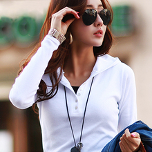 春装2co21新式连alT恤女休闲显瘦运动卫衣纯白色棉带帽打底衫