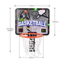 智能计co篮球架室内al童挂墙式可升降移动(小)孩投篮框蓝球