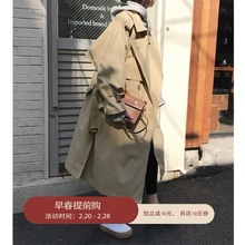 卡其色cq衣女春装新hm双排扣宽松长式外套收腰系带薄式大衣潮