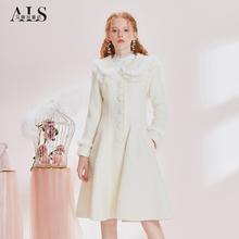 艾丽丝甜美毛呢cq4套202js款公主风白色大衣女修身流行中长款