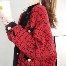 [craft]红色格子毛衣开衫外套女宽