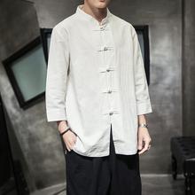 中国风男装七分袖衬衫男cr8休闲短袖ft亚麻半袖唐装寸衫春夏