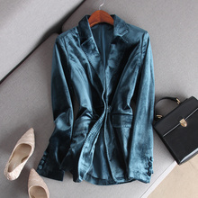 Aimcrr精品 低ft金丝绒西装修身显瘦一粒扣全内衬女春