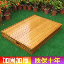 可折叠cr单的双的竹es家用简易(小)床便携行军实木床木板床