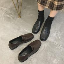 日系icrs黑色(小)皮at伦风2021春式复古韩款百搭方头平底jk单鞋