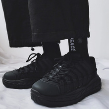 港风情crins老爹at街拍厚底全黑色运动鞋百搭(小)黑鞋