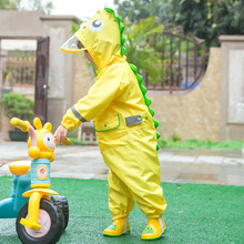 户外游 儿童连体雨衣恐龙cr9型男童女at儿园大帽檐雨裤雨披