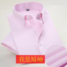 夏季薄cr衬衫男短袖at装新郎伴郎结婚装浅粉色衬衣西装打底衫