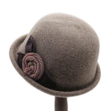 卷边复cr(小)礼帽女时at羊毛呢帽韩款百搭冬季帽子女秋冬女帽子