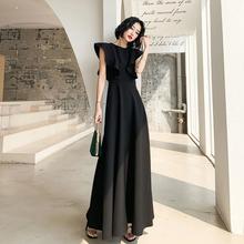黑色晚cr服裙女宴会el王长式平时可穿优雅高贵名媛气质连衣裙