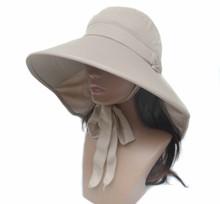 遮阳帽女夏季cr车大檐帽防el紫外线可折叠帽太阳帽大沿马尾帽