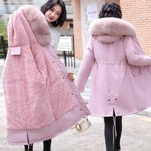 J派克cr棉衣冬季羽ur中长式韩款学生大毛领棉袄外套可拆毛领