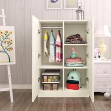 实木质cr衣柜宝宝(小)ck简易组装2开门板式衣橱简约现代经济型