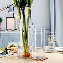 水培玻璃透明富cr竹花瓶摆件pl花欧款简约大号水养转运竹特大