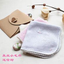 *日本cs蚕丝方巾 ww边(小)毛巾美容护肤手帕樱之舞送信封包装