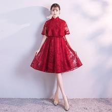 孕妇新cu敬酒服20an式显瘦高腰遮肚结婚晚礼服女酒红色平时可穿