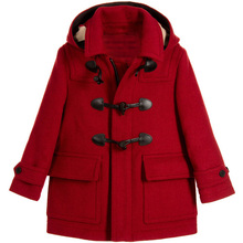 女童呢cu大衣20298新式欧美女童中大童羊毛呢牛角扣童装外套