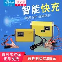 锐立普cu托车电瓶充in车12v铅酸干水蓄电池智能充电机通用