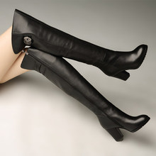 雪地意cu康正品真皮in跟高跟骑士靴时尚舒适保暖绒里过膝长靴