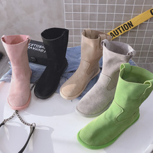 202cu春季新式欧in靴女网红磨砂牛皮真皮套筒平底靴韩款休闲鞋