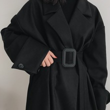 boccualookin黑色西装毛呢外套大衣女长式大码秋冬季加厚