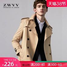 风衣男cu长式202in新式韩款帅气男士休闲英伦短式外套