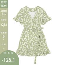 【9折cu欢价】(小)雏ng裙女夏装收腰显瘦V领(小)个子碎花雪纺短裙